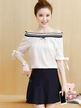 Slash Neck Cotton Stripe Shirt Appliques A-Line Skirt 2-Piece Sets