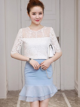 Lace Half Sleeve Shirt Asymmetric Falbala Skirt 2-Piece Sets