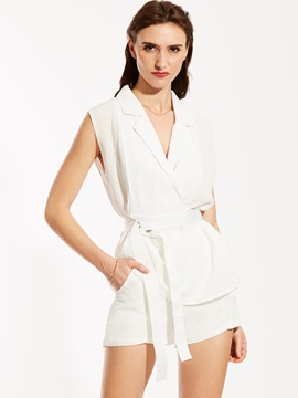 Notched Lapel Sleeveless Blouse And Shorts Suit