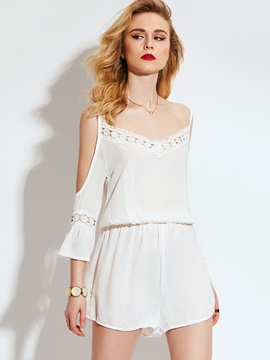 Hollow Patchwork Lace Chiffon Jumpsuits