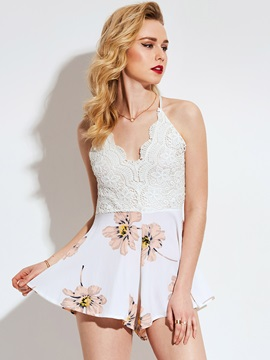 Slim Backless Lace Print Culottes Rompers