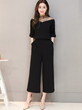 Mesh T-Shirt Wide Legs Pants 2-Piece Sets