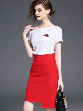 Appliques T-Shirt Asymmetric Skirt 2-Piece Sets