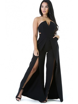 Slim Backless Asymmetric Wide Legs Jumpsuits