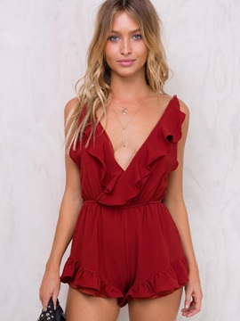 Falbala V-Neck Backless Pleated Jumpsuits