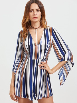V-Neck Sexy Print Stripe Bell Sleeve Loose Jumpsuits