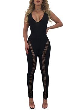 Skinny Backless Lace-Up Jumpsuits