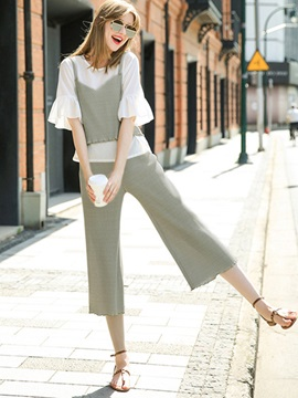 Plain Chiffon Three-Piece Outfit