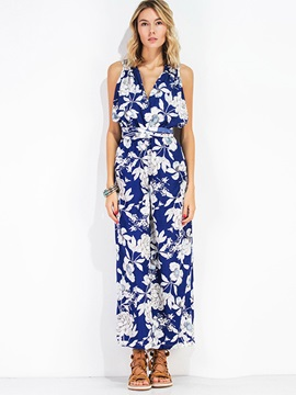 Slim Floral Hollow Wide Legs Backless Women's Jumpsuit