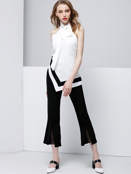 Chiffon Color Block Sleeveless Shirt & Asymmetric Pleated Bellbottoms 2-Piece Sets