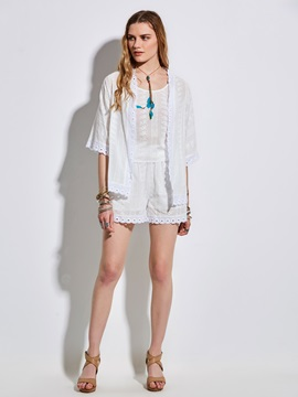 Plain Lace Hollow Women's Shorts Suit