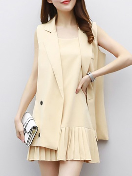 Notched Lapel Double-Breasted Vest & Pleated Dress 2-Piece Sets