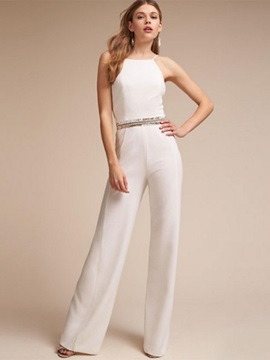 Plain Slim Backless Sequins Wide Legs Jumpsuit