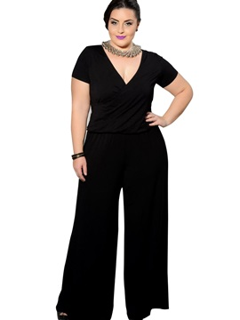 Plus Size Plain Loose Wide Legs Jumpsuit