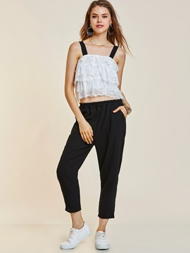 Color Block Sleeveless Lace T-Shirt & Pencil Pants 2-Piece Sets