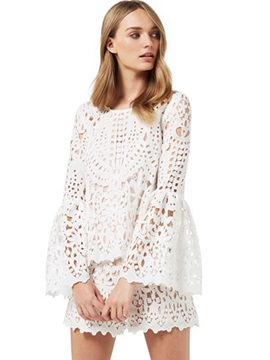 Lace Hollow Pagoda Sleeve Shirt & Straight Shorts 2-Piece Sets