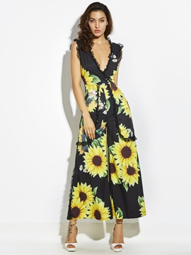 Sunflower Print Wide Legs Lace Patchwork Women's Jumpsuit