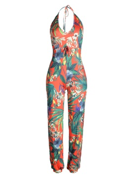 Floral Chiffon Lace-Up Backless Jumpsuits