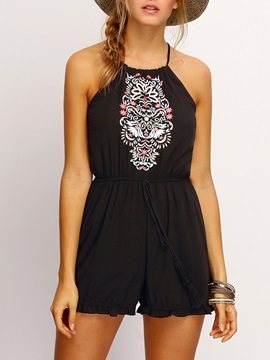 Slim Hollow Embroidery Straight Rompers