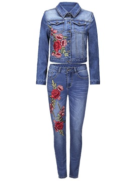 Embroidery Floral Denim Jacket and Pencil Pants Women's 2-Piece Set