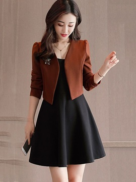 A-Line Black Dress and High-Waist Slim Blazer Women's 2-Piece Set