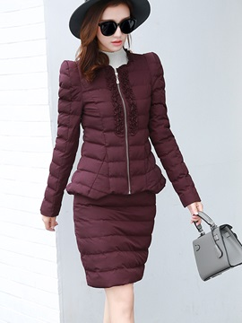 Padded Coat and Bodycon Skirt Women's Skirt Suit