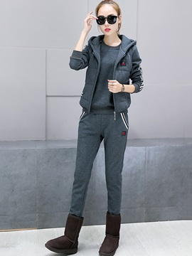 Thicken Hooded Vest Round Neck Hoodie and Casual Pants Women's 3-Piece Set