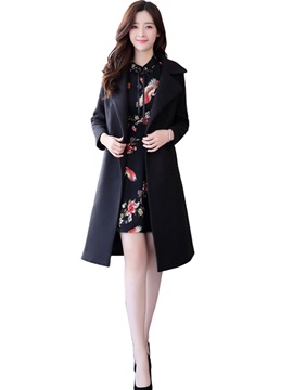 Floral A-Line Dress and Lace-Up Trench Coat Women's Elegant Suit