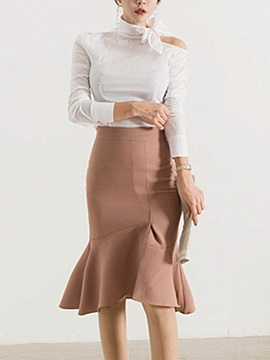 Slim Mermaid Mid-Calf Skirt and Bowknot Shirt Women's Elegant Suit