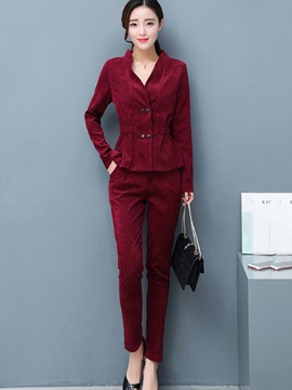 Corduroy Double-Breasted Falbala Jacket and Pants Women's Suit