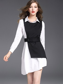 Mid-Length Shirt and Lace-Up Tops Women's 2-Piece Set
