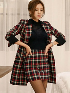 Plaid Double-Breasted Long Sleeve Blazer and Mid-Length Bodycon Skirt Women's Suit