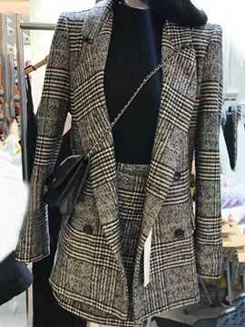 Double-Breasted Notched Lapel Plaid Jacket and Skirt Women's Suit