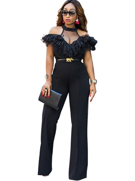 Slim High-Waist Wide Leg Women's Jumpsuit