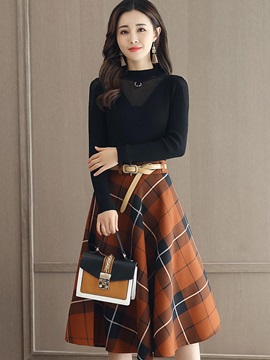 Pullover and Plaid Skirt Women's Suit
