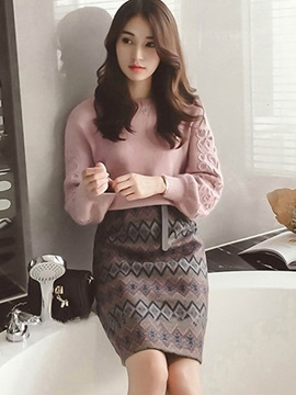 Blouse and Bodycon Skirt Women's Suit
