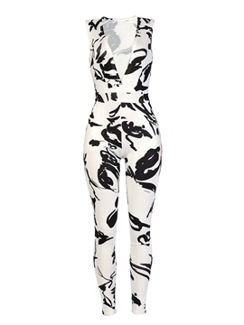 V-Neck Slim Print Women's Jumpsuit