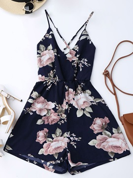 Floral Print Strap Backless Women's Rompers
