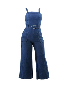 Denim Backless Ankle Length Women's Suspenders