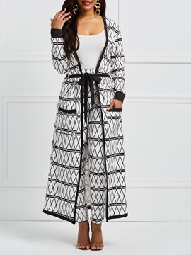 Geometric Long Cape And Pants Women's Suit