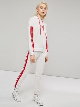 Stripe Long Sleeve Hoodie and Pants Women's Two Piece Set