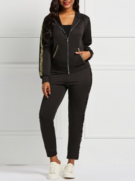 Color Block Zip Jacket Pencil Pants Women's Sports Suit