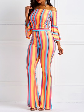 Stripe T-Shirt Casual Pullover Bellbottoms Women's Two Piece Set