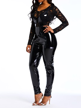 Lace PU Sexy Slim High Waist Women's Jumpsuit