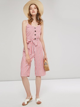 Striped Bowknot Mid-Calf Slim Backless Women's Jumpsuit