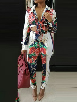 Pants Casual Button Pencil Pants Single-Breasted Women's Two Piece Set