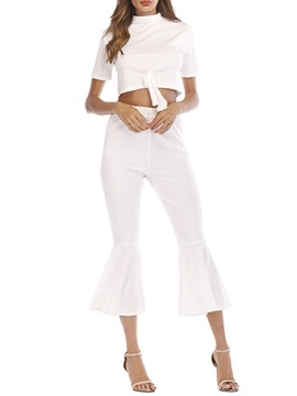 Bowknot Plain T-Shirt Bellbottoms Pullover Women's Two Piece Sets