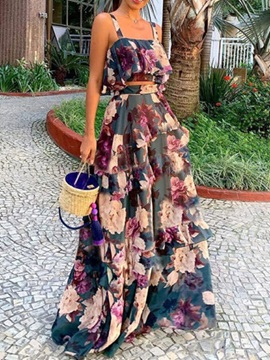 Print Floral Western Pullover Women's Two Piece Sets