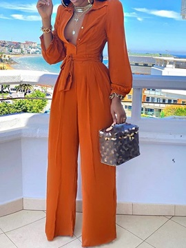 Full Length Fashion Plain Slim High Waist Women's Jumpsuit