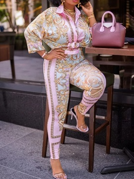 Shirt Print Floral Single-Breasted Lapel Women's Two Piece Sets